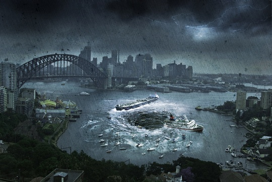 Sydney Harbour Bridge and City on a Rainy Day Post-apocalyptic